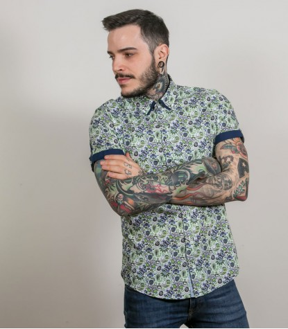 Shirt Leonardo Poplin WhiteLight Green
