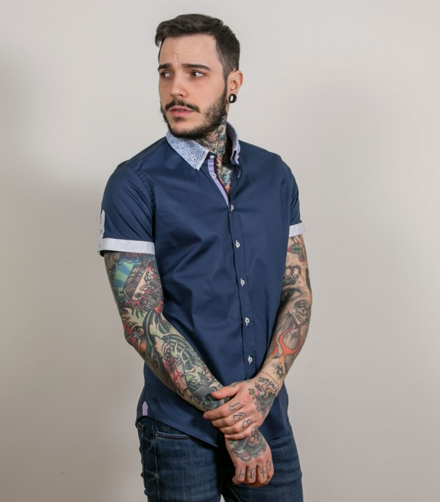 Shirt Leonardo stretch poplin Dark Blue