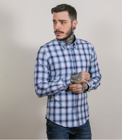 Shirt Leonardo Cotton Polyester WhiteBlue