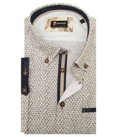 Shirt Leonardo Super oxford WhiteBrown