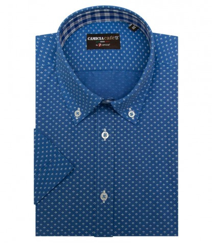Shirt Leonardo Cotton Polyester Sky Blue and White