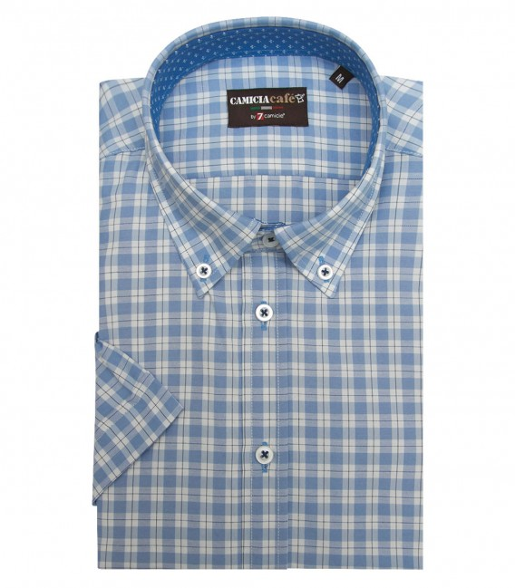 Shirt Leonardo Cotton Polyester WhiteLite Blue