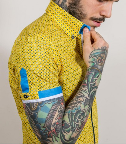 Shirt Roma Cotton Yellow and Blue Sky
