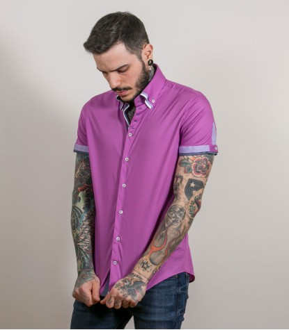 Shirt Vesuvio stretch poplin Orchid