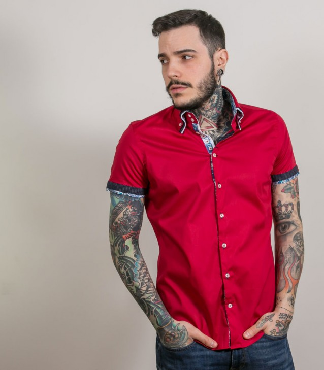 Shirt Vesuvio stretch poplin Red