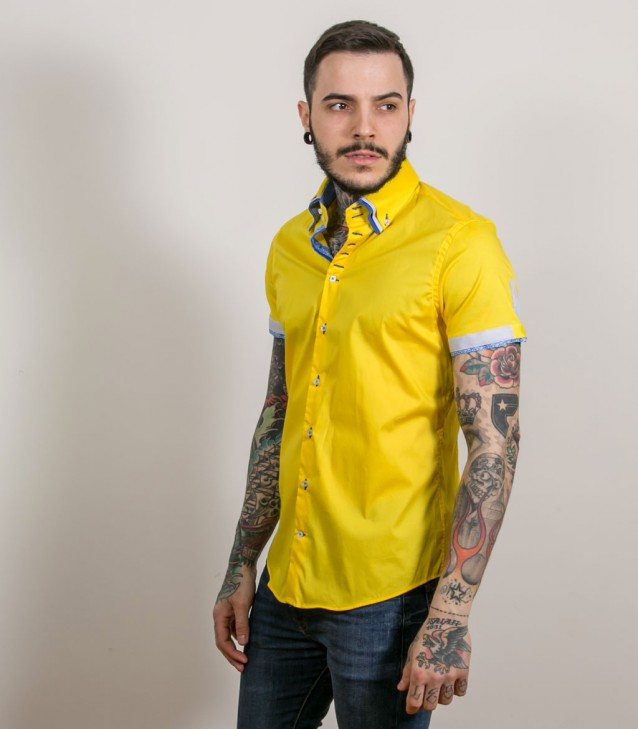 Shirt Vesuvio stretch poplin Yellow