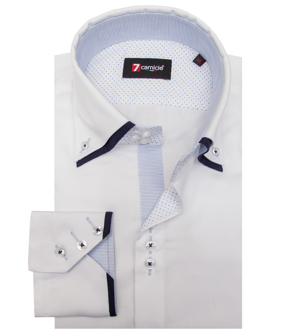 Chemise United Pour 3 Boutons Manches Courtes Homme Slim White Satin 0wnOkP